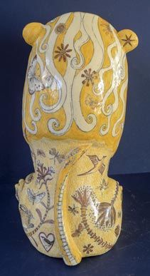 Ceramic Lion by G Warne back view: