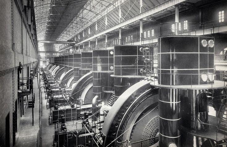 Interior view of the Interborough Rapid Transit Company (IRT) subway powerhouse, 58th to 59th Street, ca. 1904.