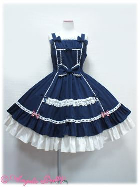 Princess Classical Jumper Skirt (Navy) by Angelic Pretty