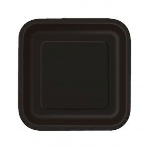 Χάρτινα πιάτα τετράγωνα μαύρα - 14 τμχ.
