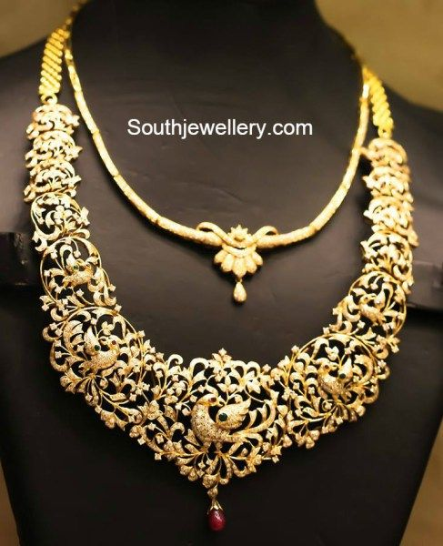 Bridal Diamond Necklace And Haram Set: 104 Best Images About Gold Necklaces On Pinterest