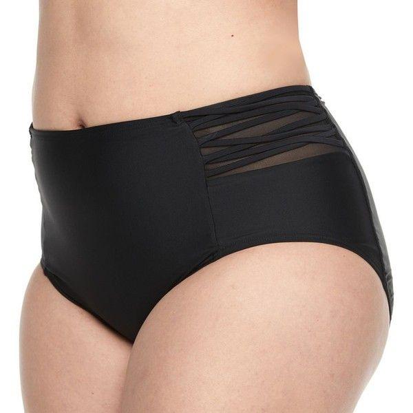 Juniors' Plus Size Island Soul High-Waisted Scoop Bikini Bottoms ($23) ❤ liked on Polyvore featuring swimwear, bikinis, bikini bottoms, black, plus size, plus size bikini, plus size bikini bottoms, strappy bikini, high waisted bikini bottoms and highwaisted bikini bottoms