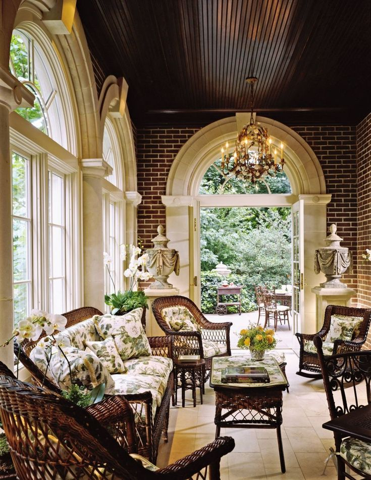 A porch at Old Westbury Gardens inspired the design of a New Jersey conservatory | via Architectural Digest