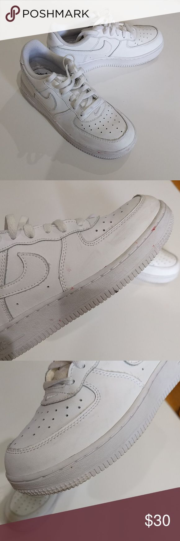 Nike air Force 1 (boys) White on white air force 1 mids. There are a few scuffs and some red markings on the side of the sole, but overall in great shape (considering these are boys shoes and they are all white). Nike Shoes Sneakers