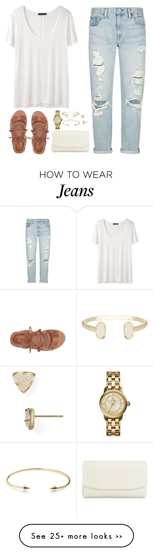distressed blue jeans white tee brown sandals shoes