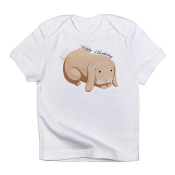 Hoppy Birthday Rabbit Infant T-Shirt from cafepress store: AG Painted Brush T-Shirts. #birthday #baby #bunny