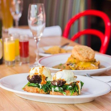 Best Hangover Cures - Beefed up eggs Benedict with pork and cheese biscuit