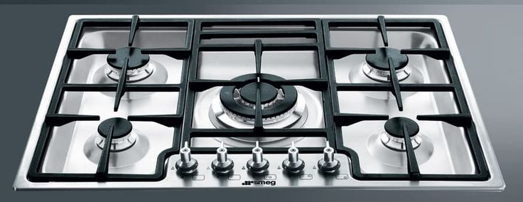 Smeg PGF75U3 28 Inch Gas Cooktop with 5 Sealed Burners Including 2 Rapid Burners, Automatic Electronic Ignition, Safety Valves and 1/8 Inch Ultra Low Profile Base: Stainless Steel Front Controls