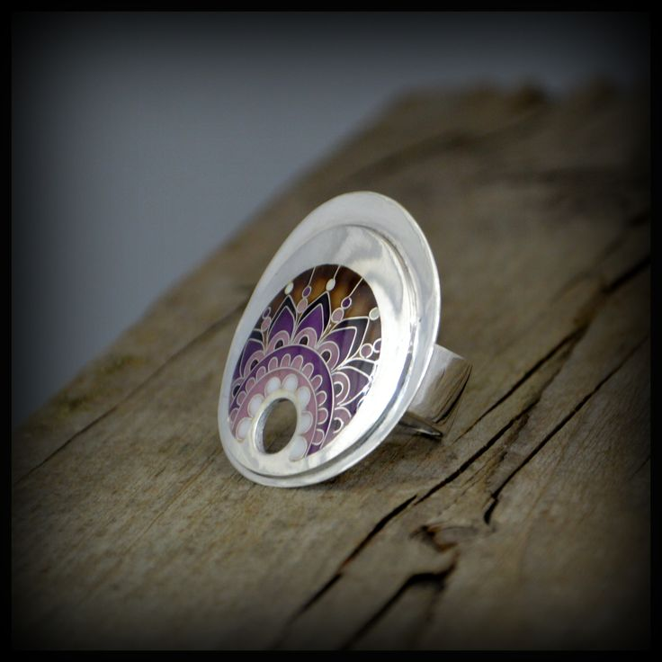 Silver ring decorated with cloisonne enamel. www.facebook.com/ANDcli