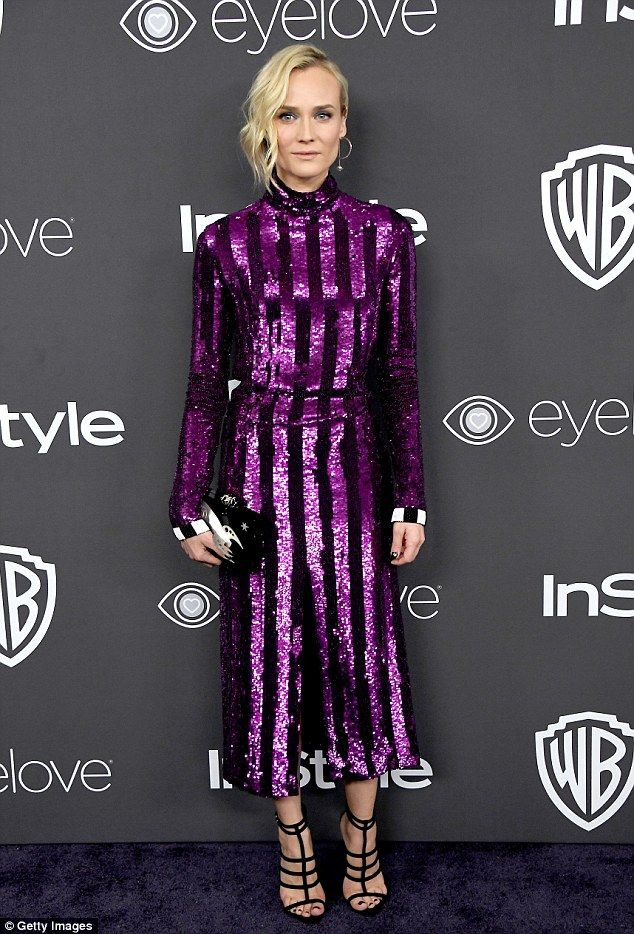 Chic and cool: Diane Kruger shinned in purple but with a focus on style rather than sexine...