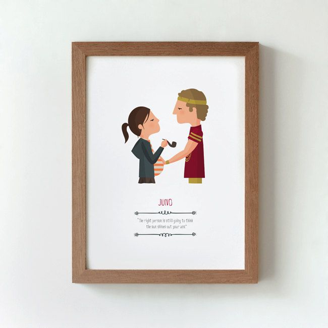 Illustration. Juno. Print. Wall art. Art decor. Hanging wall. Printed art. Decor home. Gift idea. Bedroom. Sweet home. Jason Reitman film.