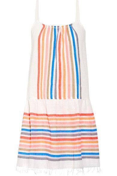 LemLem - Candance Striped Cotton-blend Gauze Mini Dress - Orange
