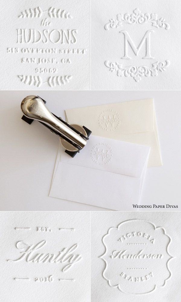 wedding paper divas custom embosser embossing stamps blind embossed return address envelopes back flap