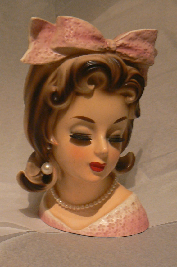 Vintage Lady Headvase Planter Head Vase Mid Century Pigtails Teen