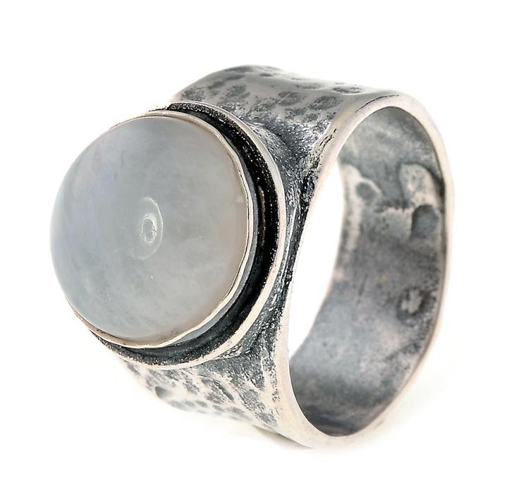 Ring zilver met steen maansteen wit