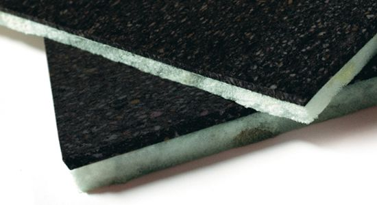 Material made of a double layer of flexible agglomerated polyurethane foam with open cell structure with different densities. It consists in a layer of polyurethane bounded by polymers and a layer of high density mixed polyurethane from the recycling of industrial processes scraps, with at least 58% post-industrial recycled content. It is used for the acoustic insulation for both airborne and footstep noises.