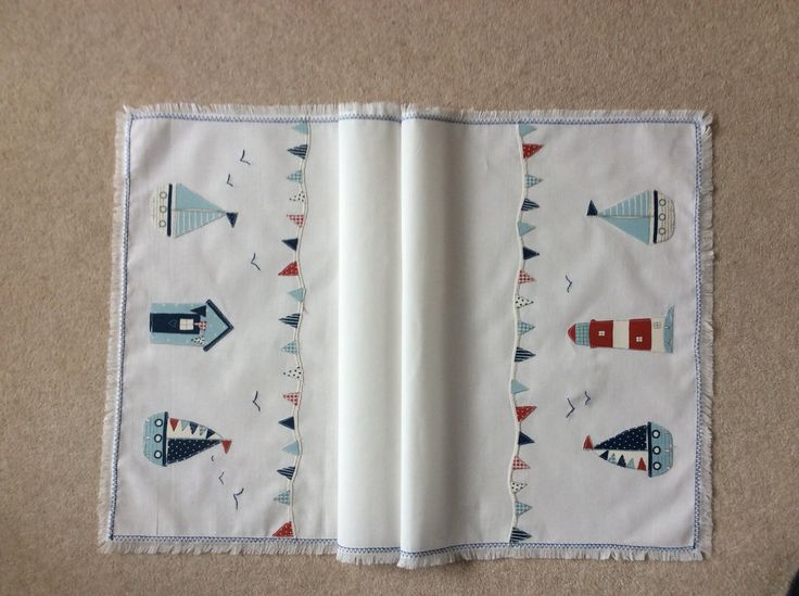 Appliqué table runner, for the beach hut.