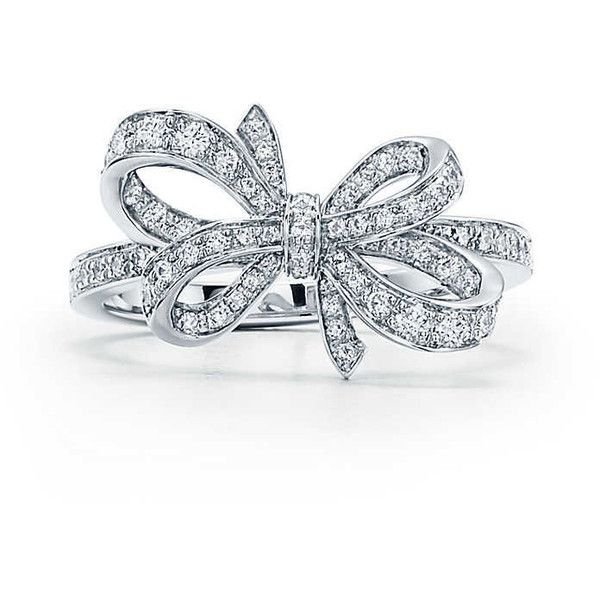 Tiffany Bow ($5,400) ❤ liked on Polyvore featuring jewelry, rings, diamond bow jewelry, diamond bow ring, diamond rings, bow jewelry and round diamond ring