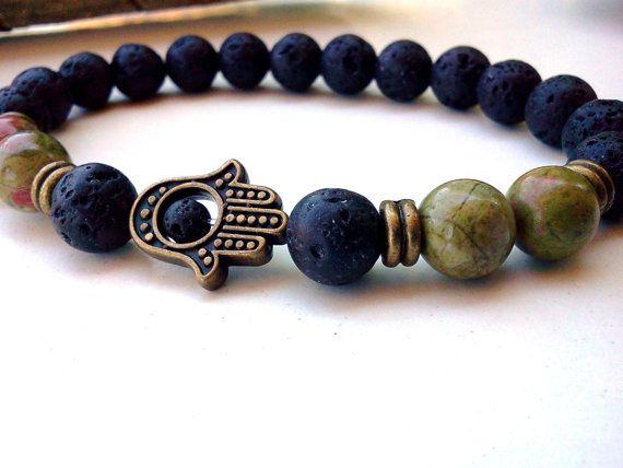 Protection Unakite Hamsa bracelet, Lava bracelet, Hamsa bracelet, Lava Hamsa bracelet, Unakite bracelet, Good Luck bracelet, Jasper Hamsa
