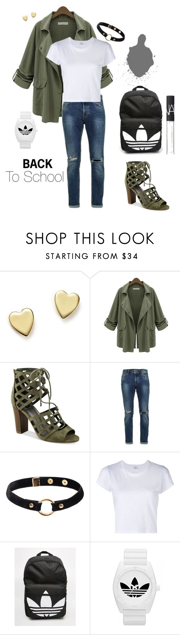 """Back to School"" by poshcandies ❤ liked on Polyvore featuring Bloomingdale's, Chicnova Fashion, G by Guess, Nika, RE/DONE, adidas, NARS Cosmetics, BackToSchool, Heels and olive"
