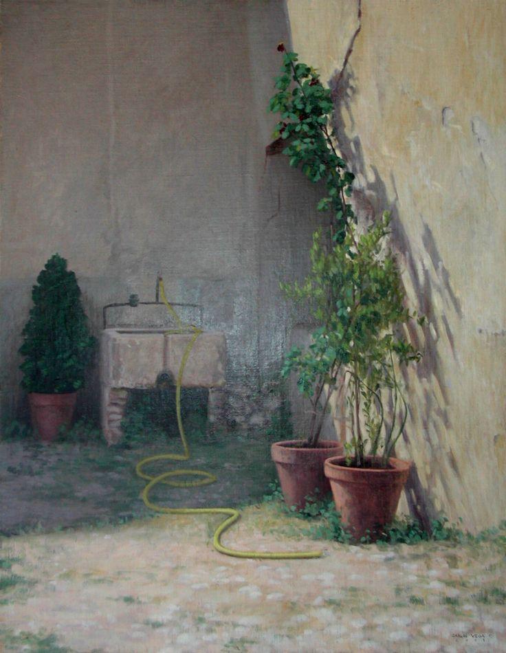 Carlos Vega - Patio Interior - Óleo sobre tela