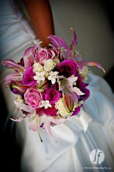 Classic Formal Romantic Pink Purple White Ballroom Bouquet Lily Rose Stephanotis Tulip Wedding Flowers Photos & Pictures - WeddingWire.com