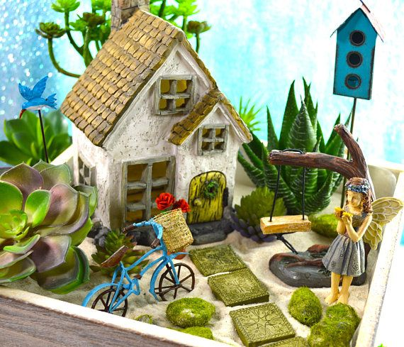 Fairy Garden Planter Kit ~ Cottage with Wreath ~ Miniature Garden Set ~ Sand NOT Included ~ Fake Succulent/Fairy Option at Checkout