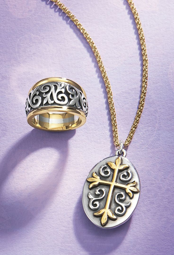 Scrolled Fleurdelis Ring And Les Fleurs Gold & Silver Cross #jamesavery ·  James Averyjewelry