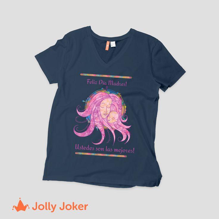 Diseña la mejor camiseta personalizada del día de las madres. Añádele color, frases, imágenes, lo que quieras y hazla sentir especial todos los días!