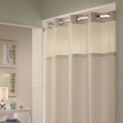 Double Hookless Fabic Shower Curtain With Snap In Liner And Sheer Window