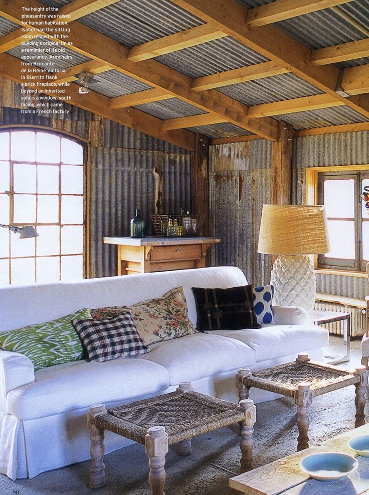 corrugated tin room we think this would look great with our reclaimed tin and beams - Tin Ceilings