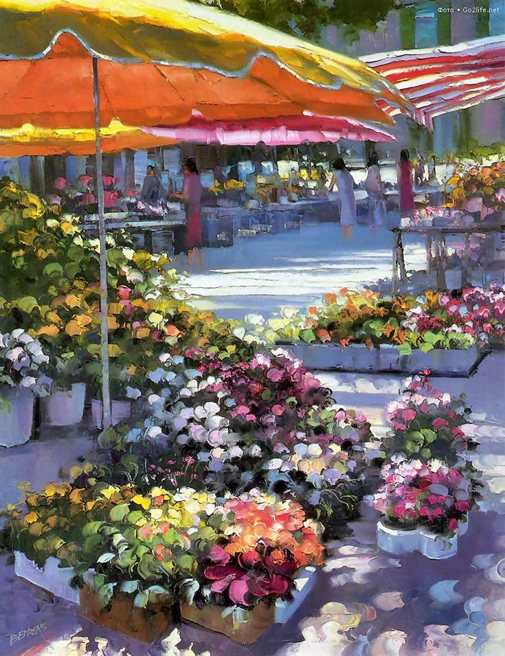 ART~ The Flower Market~ Howard Behrens
