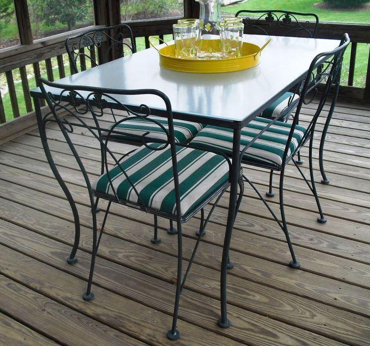 Popular Vintage anitque meadowcraft wrought iron glass top pc table and chairs dining Vintage TerrasseEisen Gartenm belGartenm belEisen