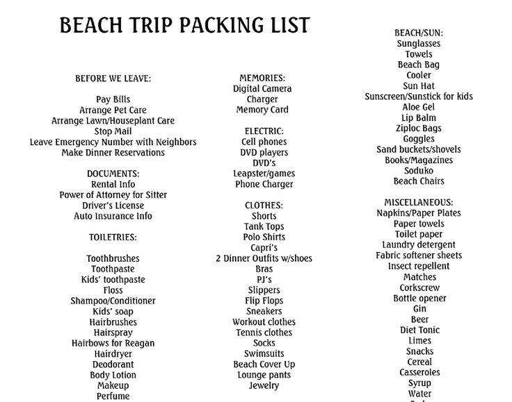 best 20  packing list beach ideas on pinterest