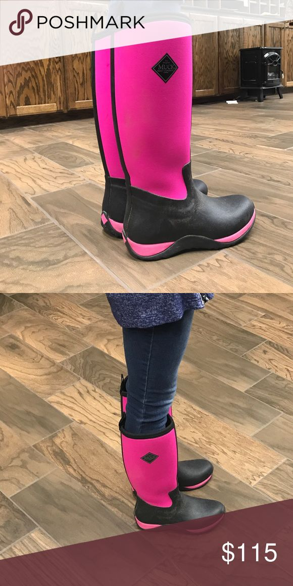 Hot pink Hale muck boots. Like new. For sale or will trade for black muck boots ONLY. LOVE LOVE LOVE these but need them in black!!! These are the best boots ever! muck Shoes Winter & Rain Boots