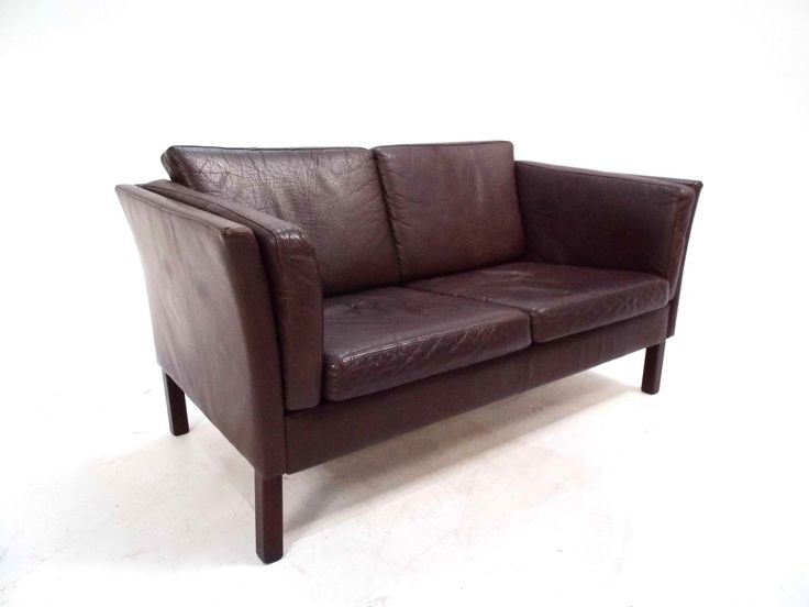 Danish Dark Brown Leather 2 Seater Sofa Mid Century 1960s