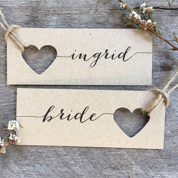 Wedding place cards Heart Name Tags Heart Tags by LaPommeEtLaPipe