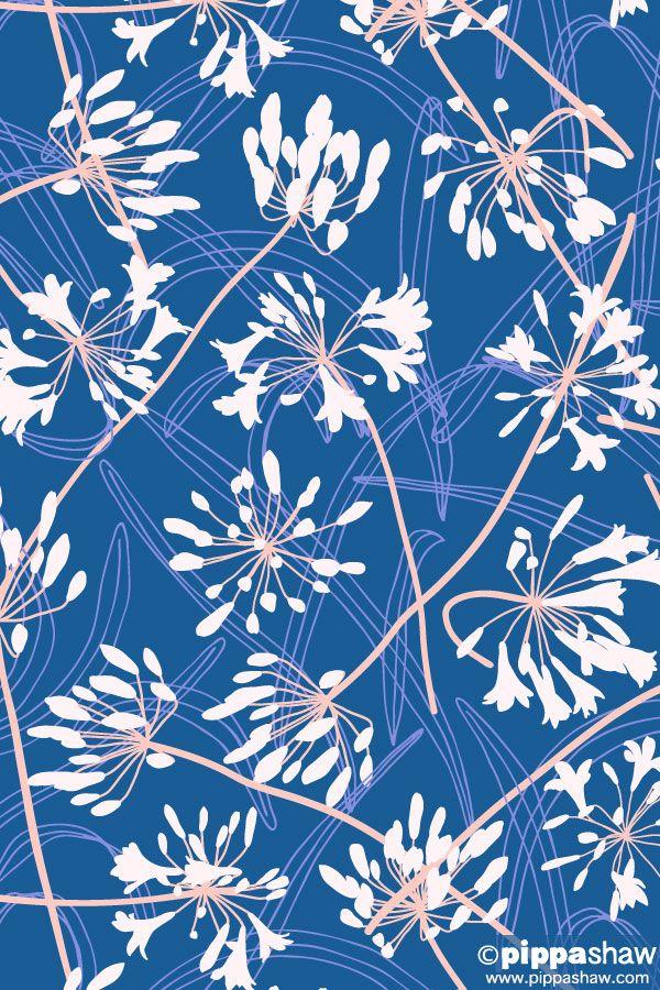 Agapanthus Dance By Pippa Shaw Flower Pattern Design Agapanthus Pattern Art
