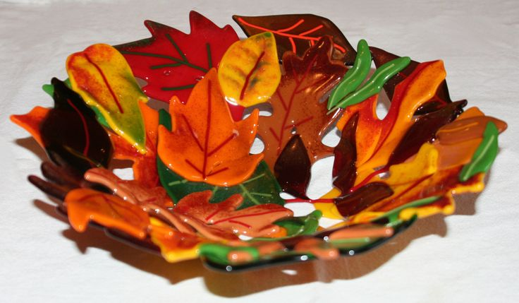 Fused Glass Leaf Bowl by BloomingLilyGlass on Etsy