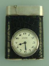 винтажный Eterna из чистого серебра и кожаный часы зажигалка