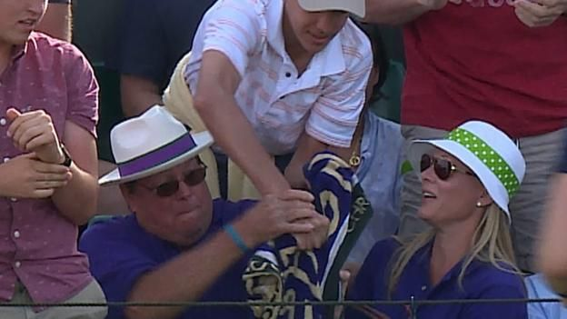 Wimbledon 2017 - American Jack Sock threw his towel to a young fan at the end of his first round victory at Wimbledon and a large old man sitting nearby has been strongly criticised on social media for stealing the towel.