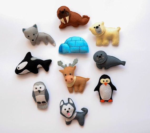 Felt animals from the arctic