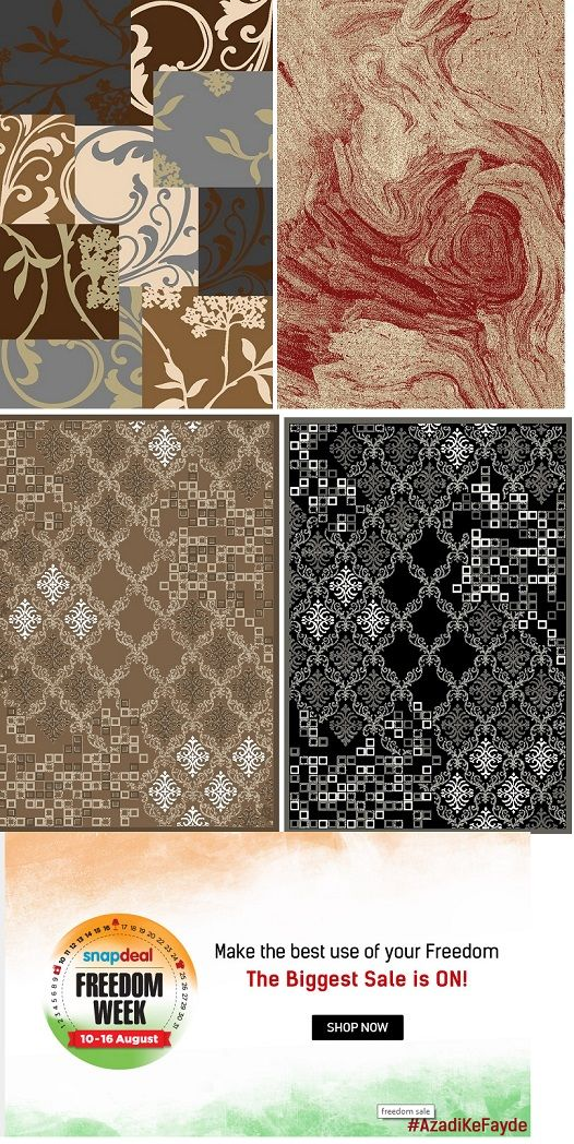 Snapdeal Freedom Week brought to you great #offers on our #carpet designs. Hurry up and buy our #carpet, #rugs, #Shaggy carpet designs at very attractive price and discount, by following the image.