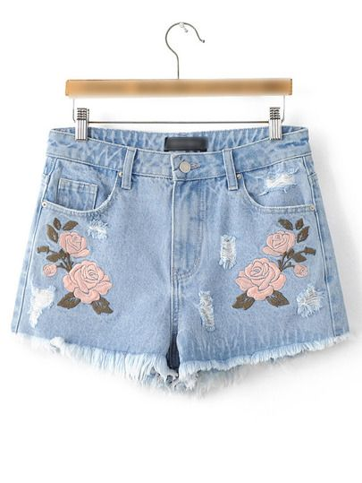 *SHEIN (SHEINSIDE) || Light blue flower embroidery raw-edged cut pockets shorts | Pantalones cortos azul claro con flores bordadas