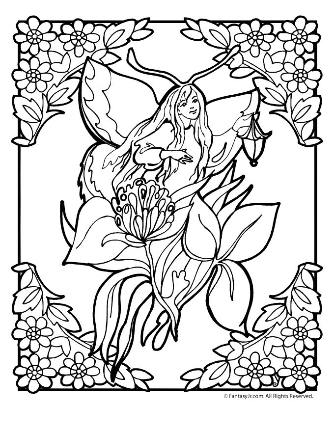 flower fairy coloring page 6 - Coloring Pages Dragons Fairies
