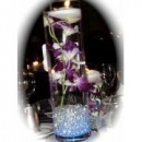 10 piece set  orchids   floating candles glass vase wedding reception table centerpieces  custom made to order centerpieces