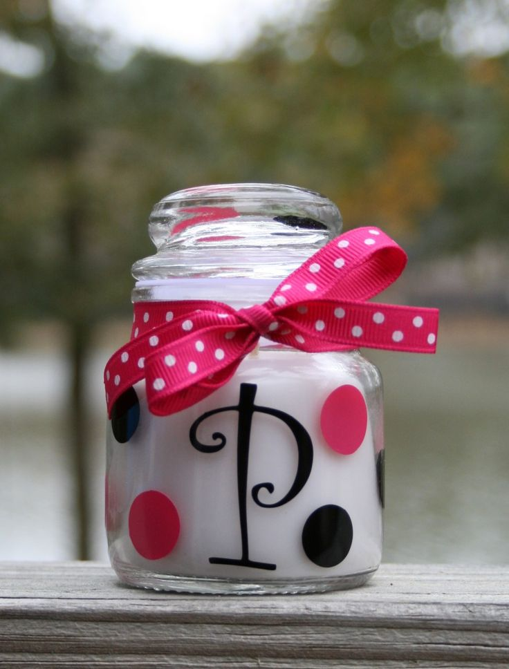 Personalized Monogram Preppy Polka Dot Jar Candle 3oz TinyTulip.com We're All About Personalization - Gifts Monogram Embriodery