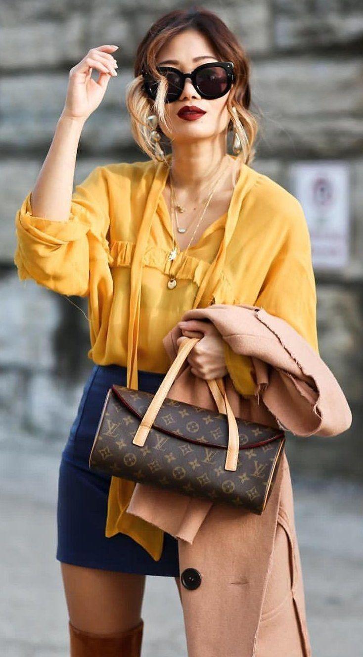 #preppy #fashion /  Mustard Sheer Top // Navy Skirt // Louis Vuitton Clutch