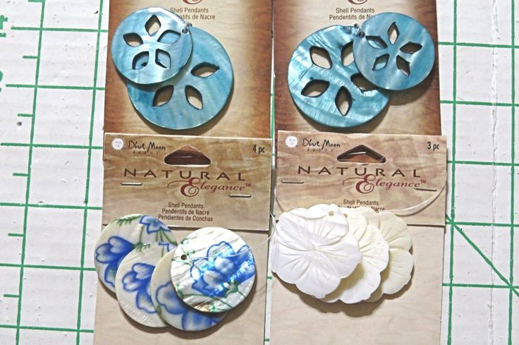 Blue Moon Natural Elegance Shell Pendants.  Lot of 4 cards.  Total of 11 shell pendants.  Aqua  Cream Blue Floral  Non smoking home. by NammersCrafts on Etsy