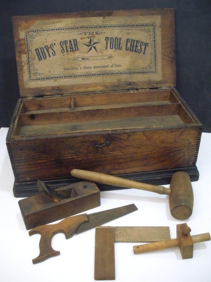 Antique Childs Carpenter S Toy Chest W Tools Circa 1900